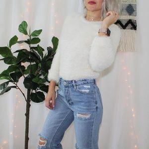 Banana Republic Ivory Eyelash Knit Sweater